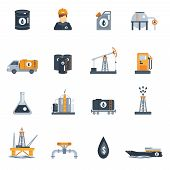 image of petroleum  - Oil industry petroleum product processing flat icon set isolated vector illustration - JPG