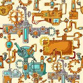pic of gear  - Industrial machines gears robot engineering technologies seamless pattern vector illustration - JPG