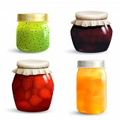 pic of jar jelly  - Natural fruit jam preserves jar set with realistic kiwi cherry strawberry and peach marmalade isolated vector illustration - JPG