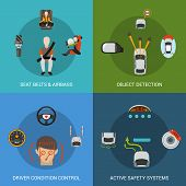 picture of designated driver  - Car safety system design concept set with seat belt airbag object detection driver condition control flat icons isolated vector illustration - JPG
