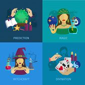image of divine  - Fortune teller design concept set with magic prediction witchcraft and divination flat icons isolated vector illustration - JPG