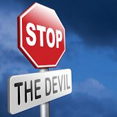 picture of sinful  - stop the devil no evil or sinning - JPG
