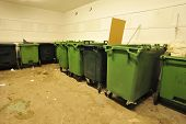 image of garbage bin  - Garbage bins for garbage and recycling in a public Place - JPG