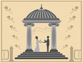 picture of gazebo  - young man gives a girl a ring standing in the gazebo - JPG
