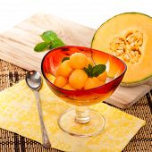 picture of cantaloupe  - Cantaloupe Melon and Mint - JPG