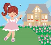 stock photo of gnats  - little girl runs away from mosquitoes  - JPG