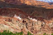 foto of gautama buddha  - Ruins and Basgo Monastery surrounded with stones and rocks Ladakh - JPG