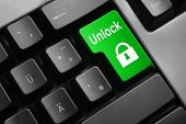 foto of vpn  - dark grey keyboard green enter button unlock - JPG