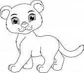 picture of panther  - image of a cute cartoon panther on white background - JPG