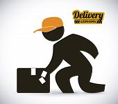 foto of lineman  - delivery  design over white background - JPG
