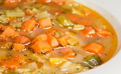 stock photo of vegetable soup  - Minestrone Vegetable Soup made of meat broth - JPG