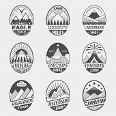 picture of ascension  - Set of alpinist and mountain climbing outdoor activity vector labels - JPG