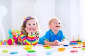 picture of education  - Kids playing with wooden toys - JPG