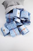 stock photo of ringgit  - Bag of money with Malaysia ringgit bills - JPG