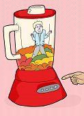 pic of blender  - Red blender with helpless man stuck inside - JPG
