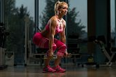 pic of dumbbell  - Middle Age Woman Performing Dumbbell Squats  - JPG