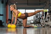 stock photo of pilates  - Aerobics Pilates Woman With Yoga Balls On Fitness Class