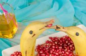 stock photo of dolphin  - Fruity kid dessert in the shape of dolphins  - JPG