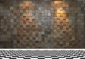 pic of stone floor  - Stone wall with two spotlights and black and white checkered floor tiles - JPG