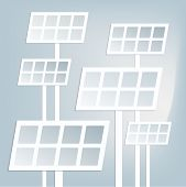 stock photo of solar battery  - Flat paper solar battery icons with shadow - JPG
