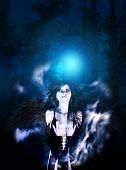 pic of fallen  - Mysterious night forest and black fallen angel - JPG