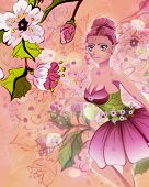 pic of fairy tail  - Colorful illustration of blooming sakura branches and cute fairy - JPG