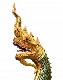 picture of serpent  - serpent king or king of naga statue in thai temple isolated on white - JPG