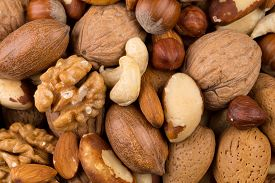 image of mixed nut  - Variety of Mixed Nuts as a background  - JPG