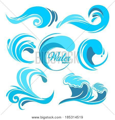 poster of Water splashes and ocean waves. Vector graphic symbols for logo design. Wave water sea swirl, collection of nature, water wave illustration