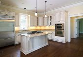 elegant kitchen with island and stainless appliances
