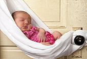 pic of sleeping baby  - newborn baby sleeping in sling - JPG