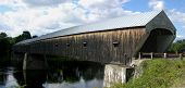 stock photo of covered bridge  - new england covered bridge joining cornish new hampshire and windsor vermont - JPG