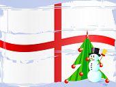Постер, плакат: Дерево на английский флаг и Снеговик