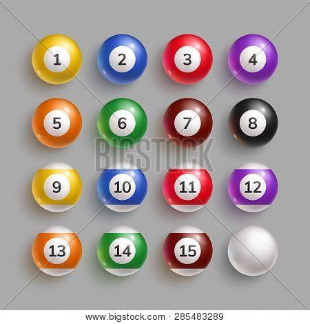 Colorful Billiard Balls With Shadow