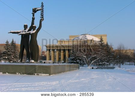 Picture or Photo of Winter view on novosibirsk opera and ballet theater. russia
