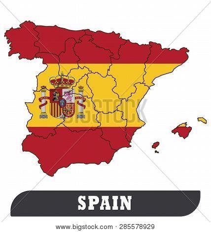 Spanish Map And Spanish Flag