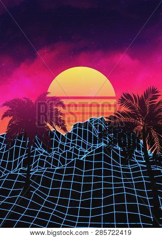 Vaporwave Landscape With Rocks And