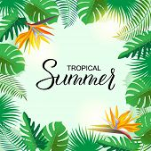 Bright Tropical Background With Jungle Plants, Palm Leaves And Flowers. Vector Exotic Frame Backgrou poster