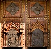 foto of atonement  - Wooden Church Doors with Metal Religious and Mexican Symbols and Decorations Temple Expiatorio Temple of Atonement Guadalajara Mexico - JPG