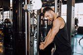 Closeup Of A Muscular Young Man Lifting Weights poster