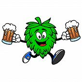 Hop Mascot Running With Beers - A Vector Cartoon Illustration Of A Oktoberfest Hop Mascot Running Wi poster