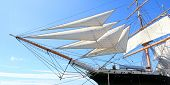 Panoramic Photo Of Sails From A Tall Ship In Dock. San Diego, Usa.  Sunny Day. poster