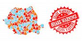 Composition Of Snowflake And Fire Map Of Romania And Shark Warning Exclamation Grunge Stamp Seal. Mo poster