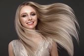 Beautiful Blond Girl In Move With A Perfectly Smooth Hair, And Classic Make-up. Beauty Face. poster