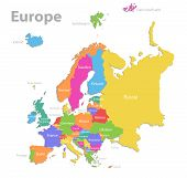 Europe Map, New Political Detailed Map, Separate Individual States, With State Names, Isolated On Wh poster
