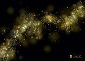 Way Of Gold Dust. Wave Of Sparkling Particles. Abstract Shiny Glitter Texture. Shining Curve And Mag poster