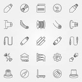 Optical Fiber Outline Icons Set. Vector Fiber Optic Cable Concept Symbols Or Design Elements In Thin poster