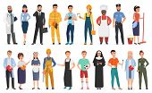 Collection Of Men And Women People Workers Of Various Different Occupations Or Profession Wearing Pr poster