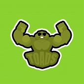 Toads Sport Logo. Frogs Sports Team Club Emblem. Animal Mascot Gaming Sign. Strong Anuran Beast Symb poster