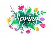 Spring Word Vector Background With Flat Minimal Flowers, Leaves Isolated On White. Floral Springtime poster
